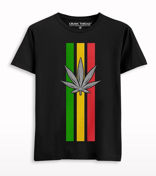 Weed Stripe Print T-shirt