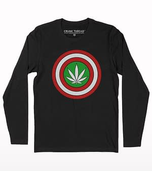 Marijuana Shield Printed Full Sleeve T-shirt