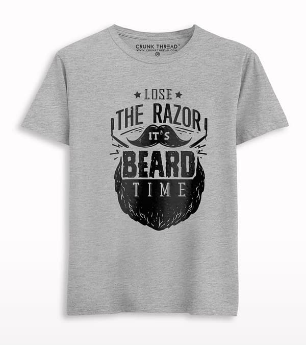 It's Beard Time Print Half Sleeve T-shirt