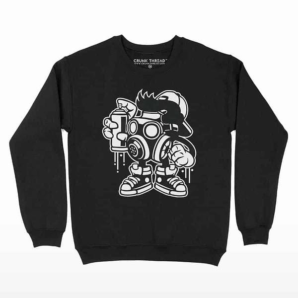 Graffiti Bomber Printed Sweatshirt